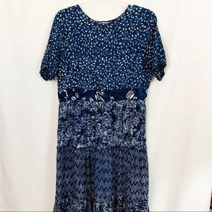 Orvis | Blue Abstract Floral Print Maxi Dress